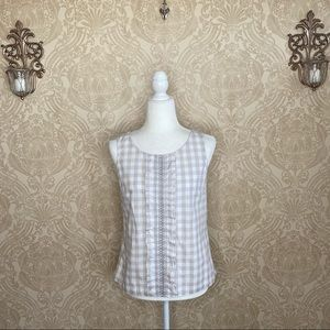 Odille Gingham Ruffle Front Tank Top